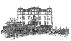 Canelli il Castello incisione di Midana  1930