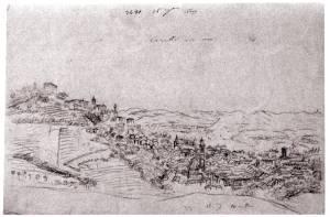 Canelli disegno C.  Rovere Canelli verso est 1849