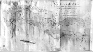 Canelli carta topografica Tipo del corso del Belbo 1836