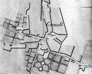 Canelli carta topografica Tipo del corso del Belbo 1836 particolare centro città