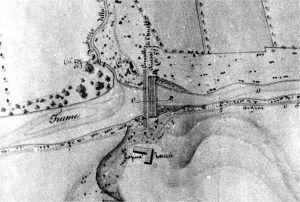 Canelli carta topografica Tipo del corso del Belbo 1836 particolare della chiusa